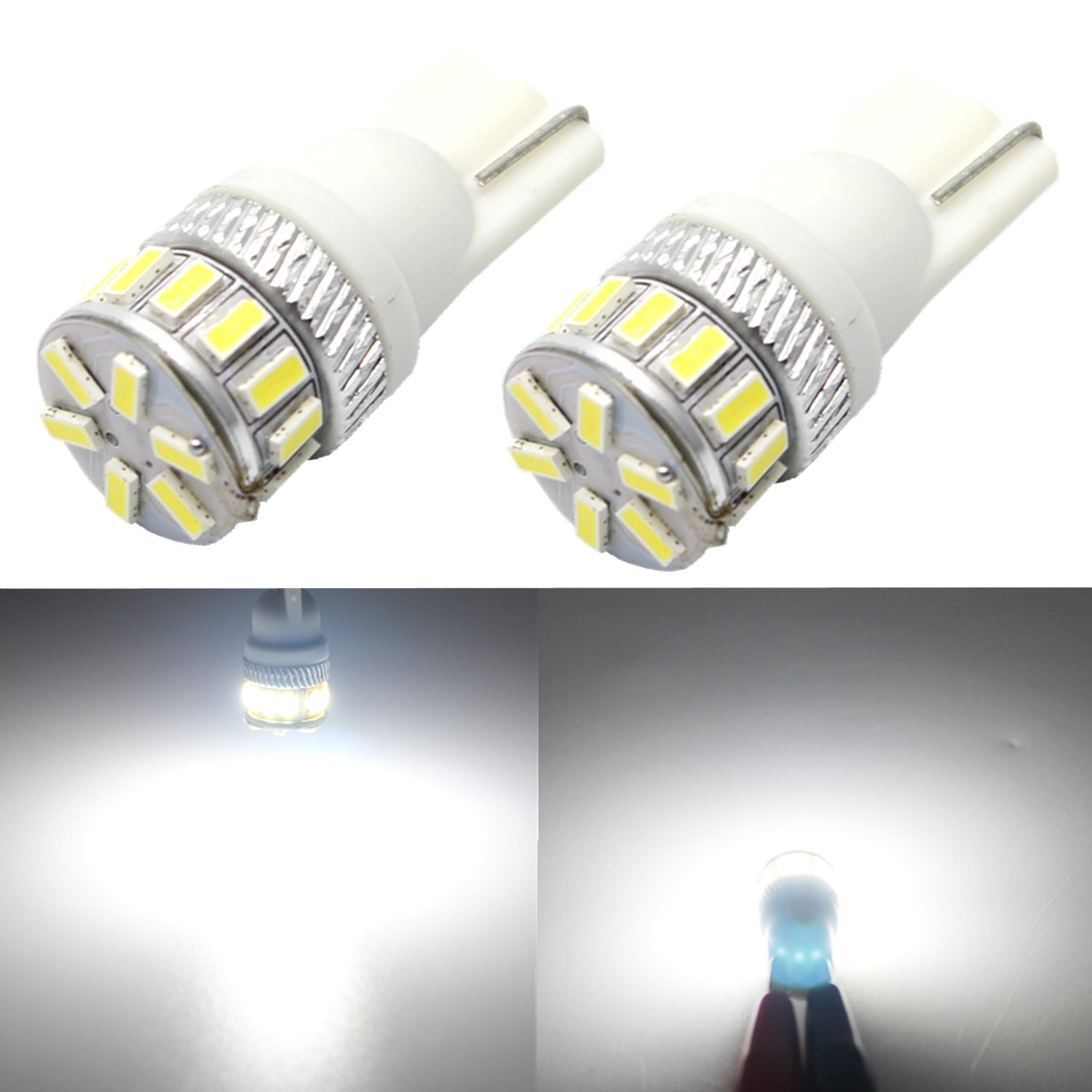 Set of 2 1 Pair Red License Plate 3 LED T10 Wedge Light Bulbs 2821 168 194