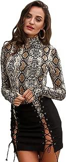 Women's Sexy Long Sleeves Bodycon Snake Skin Print Bodysuit