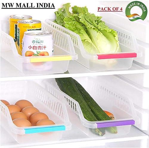 MW Mall India Transparent Fridge Storage Basket Shelf Organizer Rack Space Saver Food Storage Refrigerator Drawer For Home And Kitchen Transparent Pack Of 4