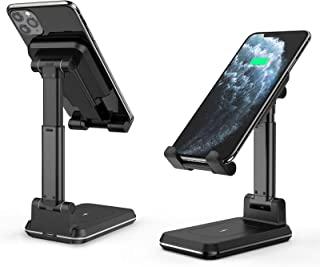 HWeggo Trådlös laddarhållare, 2-i-1 justerbar hopfällbar trådlös laddare telefonskrivbord, 10 W snabbladdande Qi-certifier...