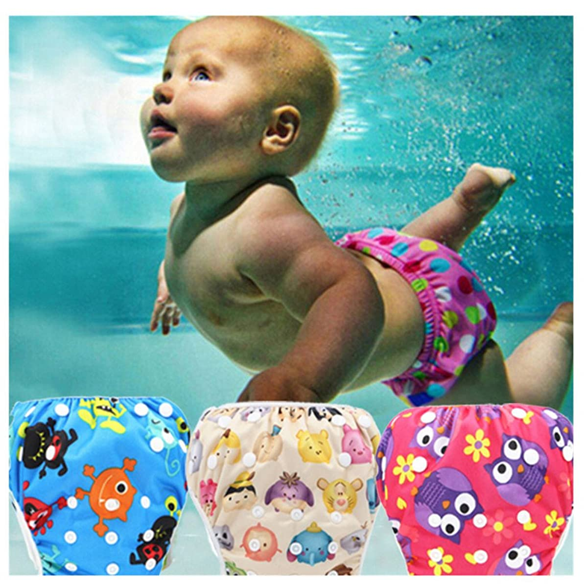 Makaor Baby Swim Diaper Reusable Leakproof Elastic Infant Pool Pant Toddler Boys Girls Adjustable Swimwear Swimming Trunks Shorts for 0-3 Years Baby (R07, Elastic Button Adjustable)
