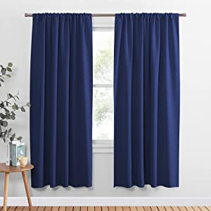 PONY DANCE Blackout Window Curtains - Rod Pocket Window Treatments Curtain Panels/Draperies Room Darkening Noise Reducing Home Fashion, Wide 52 x Long 72 inches, Purplish Blue, One Pair