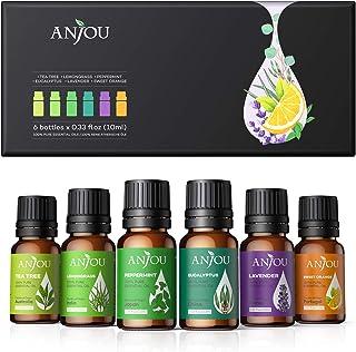 Anjou Aceites Esenciales 6 * 10ml(Lavanda, Hierba de Limón, Menta, Árbol de té, etc.). Aceite aromático 100% puro natural ...