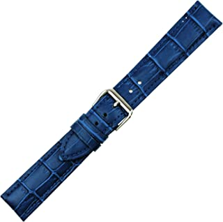 RECHERE Replacement Leather Watch Band Strap Alligator Crocodile Grain Pin Buckle Black Brown Blue White Red
