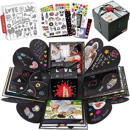int!rend Explosion box   Scatola da sorpresa creativa con 5 modelli stencil   Regalo fai da te, scatola regalo per compleanno, matrimonio, San Valentino, Scrapbook regalo per lei o lui