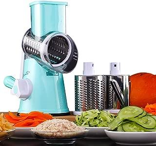 HUADEYI Máquina Multifuncional para Cortar Verduras y Frutas Tipo Tambor Giratorio rallador de Queso con 3 Cuchillas giratorias de Acero Inoxidable rallador Manual Giratorio