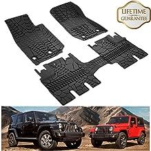 KIWI MASTER Floor Mats Compatible for 2014-2018 Jeep Wrangler JK 4-Door Unlimited, TPE All Weather Front and Rear OEM Slush Floor Liner Set (Not for 2 Door & JL) 82213860