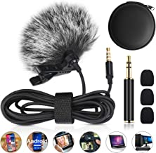 Coulky Professional Lavalier Lapel Microphone Omnidirectional Condenser Mic for IPhone Android Smartphone PC Laptop Podcast Outdoor Recording