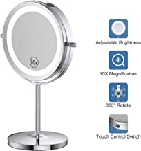 Benbilry LED Lighted Makeup Mirror - 7 Inch 1x/10x Magnifying Mirror Touch Control, Double Sided Magnified Vanity Mirror With Stand, Battery Operated (10x Dimmable Mirror)