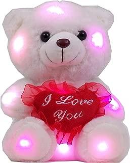 Ritmika Stuffed Teddy Bear Plush LED Toy with I Love You Heart Pillow, White 12