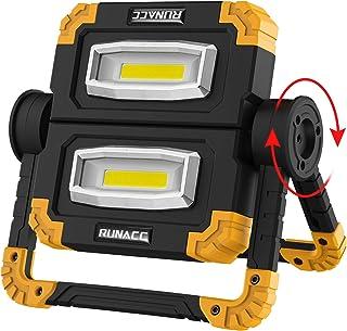 RUNACC LED Work Light USB Rechargeable Folding Portable Waterproof 2 COB 2000LM Flood..