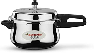Butterfly Stainless Steel 5.5-Liter Curve Pressure Cooker, Large, Silver
