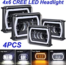 4x6 LED Headlights Rectangle Sealed Beam 4x6 Inch CREE LED Headlights Hi/Lo Beam Dot Approved 45W H4651 H4652 H4656 H4666 H6545 for Kenworth Freightinger Ford Probe Chevrolet Oldsmobile Cutlass
