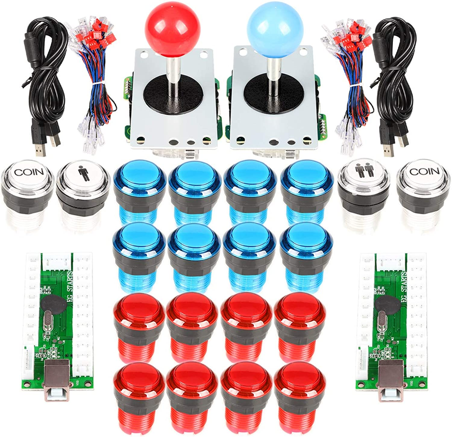 EG Starts Arcade DIY Kit Part 2x 8 Way Joystick + 16x LED Illuminated Push Button + 2 Player + Coin Buttons for Raspberry Pi 3B Model Project DIY Red & bluee
