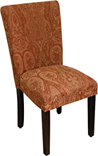 Kinfine Classic Parsons Chair Upholstery: Red/Gold Damask