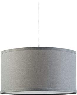 Messina Drum Pendant Ceiling Light - Heather Gray Shade - Linea di Liara LL-P719-HG