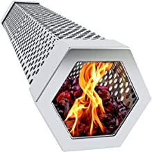 Kona Best Grill Smoker Tube - Clean Long Lasting Smoke - Hot & Cold Smoke - Wood Pellets, Wood Chips, Electric, Gas & All BBQ Grills - Heavy Duty 20 Gauge Stainless Steel - 12 Inch Hexagon