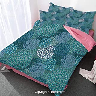 Homenon Floral Girl's Room Cover Set Full Size,Abstract Clove Petals Digital Featured Vibrant Circular Esse,Decorative 3 Piece Bedding Set with 2 Pillow Shams Petrol Blue Teal