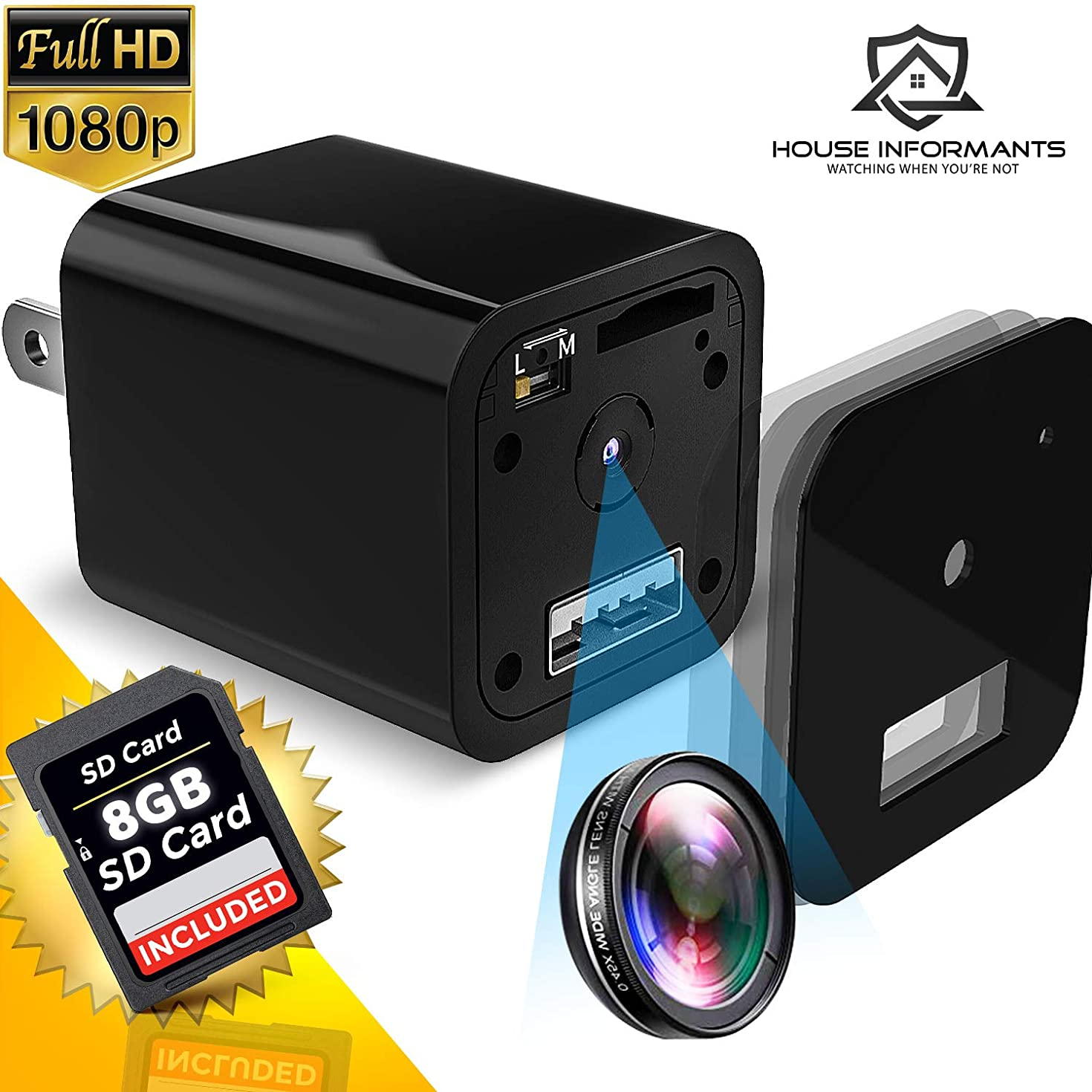 Hidden Spy Camera with 8 GB Micro SD Card | 1080P Full HD | Charger | Has Motion Detection | Loop Recording | Flash Transfer Stick | for Protection and Surveillance of Your Home and Offic