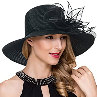 126898ee091 Women Kentucky Derby Church Dress Cloche Hat Fascinator Floral Tea Party  Wedding Bucket Hat S052