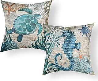 Jekeno Ocean Theme Pillow Covers Sea Turtle Seahorse Cotton Linen Cushion Cover for Bed Sofa Patio Decor 18