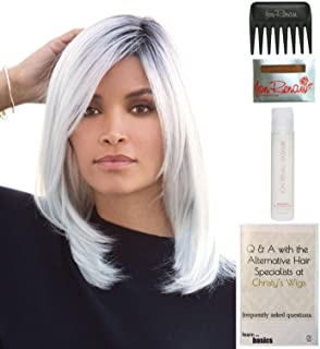 Bundle - 5 items: Dakota Synthetic Wig by Rene of Paris, Christy's Wigs Q & A Booklet, 2oz Travel Size Wig Shampoo, Wig Cap & Wide Tooth Comb - Color: Marble-Brown-LR