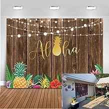 Mocsicka Luau Backdrop 7x5ft Vinyl Tropical Party Hawaiian Birthday Summer Party Photo Backdrops Aloha Hula Pineapple Wooden Wall Photography Background