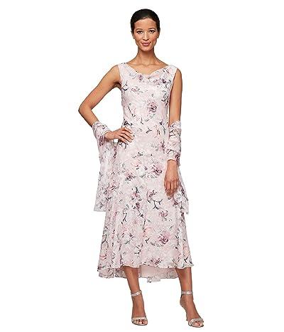 Alex Evenings Petite Tea Length Cowl Neckline Printed Dress with Matching Shawl (Blush Multi) Women