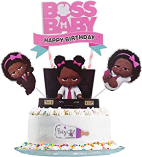 Boss Baby Cake Topper, Boss Baby Happy Birthday Cake Topper, Birthday Party Baby Shower Cake Decorative Supplies (Girl)