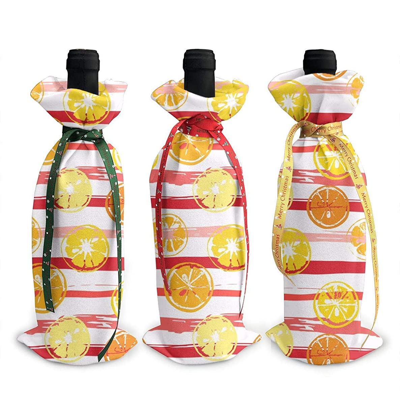 合併症落胆した病なレモンとオレンジ 赤 ワインボトルジャケット(3パック)クリスマス ギフトバッグ ワインボトルドレスセット 幅x高さ:12x34cm。