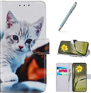 URFEDA Compatibel met Huawei P8 Lite 2017 beschermhoes van leer, portefeuille, dierenprint, magneetsluiting, boek, standfu...