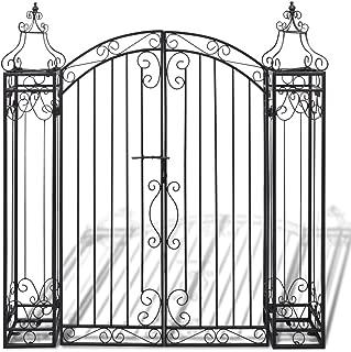 Festnight Ornamental Iron Garden Driveway Entry Gate, 4' x 8