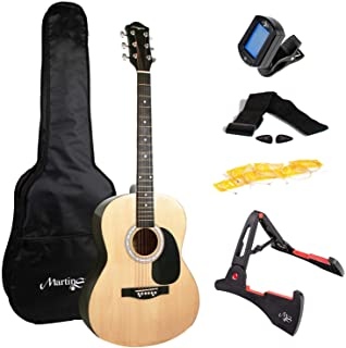 Martin Smith 6 Acoustic SuperKit Stand, Tuner, Bag, Strap, Picks, and Guitar Strings, Right, Natural (W-101-N-PK)