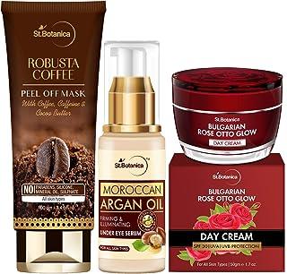 StBotanica Illumintating Skin Combo | Robusta Coffee Peel off Mask 100g + Argan Under Eye Serum 25ml + Bulgarian Rose day ...