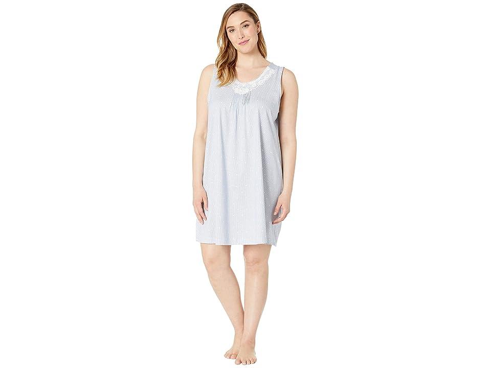 Carole Hochman Plus Size Sleeveless Short Gown (Navy & White Stripe Dot) Women