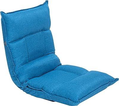 LAZY DIARY 座椅子 リクライニング 42段階 フロアチェア 腰が痛くならない高反発 折りたたみ・カバー洗濯可能 シート付き 幅53cm×(奥行63+高60)×厚さ13cm ブルー