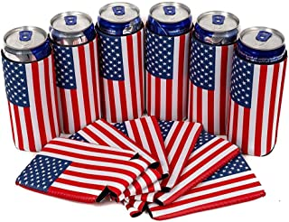 Lianle 6PCS Beer Can Coolers,American Flag Slim Can Cooler Sleeves - Beer Blank Skinny 12 Oz Neoprene Coolies - Perfect for 12 Oz Slim Red Bull, Michelob Ultra, Spiked Seltzer