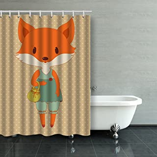 Emvency Shower Curtain Waterproof Retro Fashion Fox Cotton Sofa With Plastic Hooks Polyester Fabric Adjustable