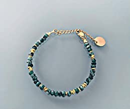 Bracciale perline di giada verde, braccialetto donna gourmet pietre naturali magiche e perline Heishi placcate in oro 24k,...