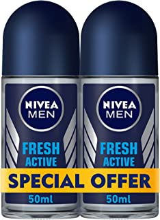 NIVEA, MEN, Deodorant, Fresh Active, Roll-On, 2 x 50 ml