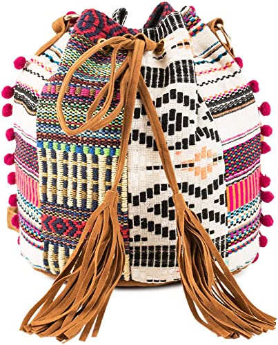 Free Spirits Bucket Bag Women s Crossbody Bag Over The Shoulder Purse and Handbag Shoulder Bag Drawstring Bucket Purse Size 9 8x13 inches