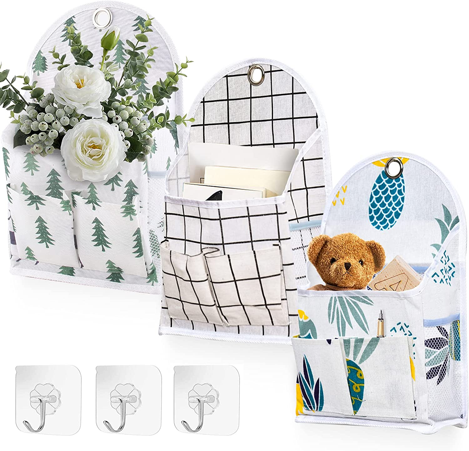 3 Pcs Wall Hanging Organizer Bags Cl Hooks Challenge Factory outlet the lowest price of Japan ☆ Waterproof Door with