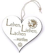 Bord Hart Leben, Lieben, lachen - Surfen - met motief - 13 x 12 cm