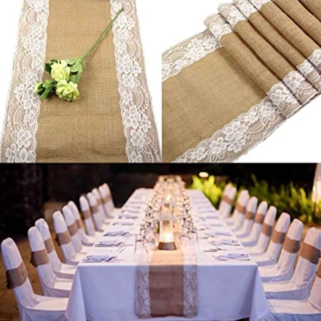 Expo International Decorative Trim Natural Burlap and Lace Linen Cotton 10 yards x 2 14 inches wide Rustic Romantic Craft Wedding Decor