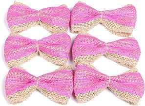 PIXNOR Pcs Jute Burlap Lace Bowknot Bow Ties