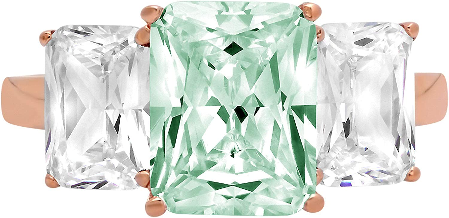 overseas 4.0ct Bombing free shipping Brilliant Emerald Cut 3 Solitaire Stone Davids with Accent