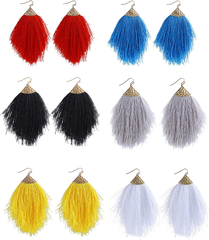 6Pcs Bohemian Silky Thread Fan Long Fringe Tassel Dangle Statement Earrings for Women Girl Boho Lightweight Strand Feather Shape Geometric Big Drop Earrings Fashion Jewelry