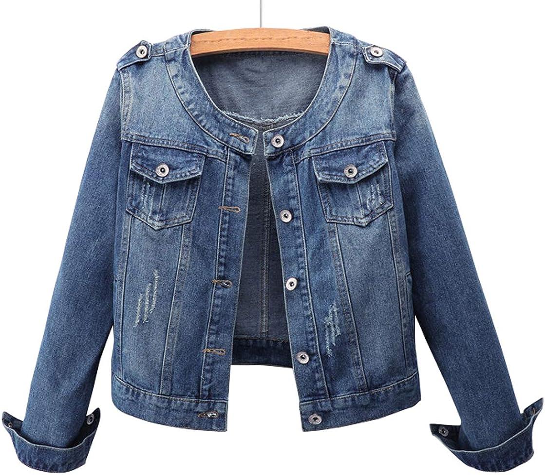 chouyatou Women's Casual Work Wear Collarless Button Front Short Jean Jacket
