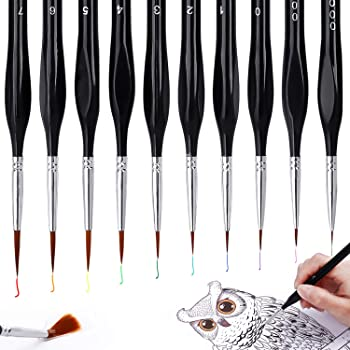 AROIC Detail Paint Brush Set, 10 Pieces Miniature Brushes, Mini Painting Brushes for Acrylic, Watercolor, Oil, Face, Scale Model Painting, Line Drawing.