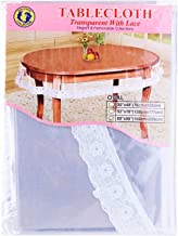 """Dolphin Collection PVC Clear Tablecloth Oval With Lace 60"""" X 90"""""""